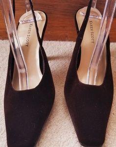Karen Scott brown velvet slingback heels 8